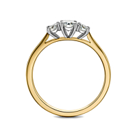 18ct gold claw set three Diamond ring