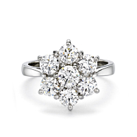 Platinum Daisy Diamond Cluster Ring