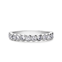 Platinum Rub-Over Set True Half Eternity Ring