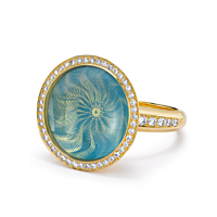 18Ct Gold Cluster Ring With An Opalescent Turquoise Enamel Centre