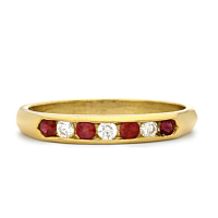18Ct Gold Ruby And Diamond Half Eternity Ring