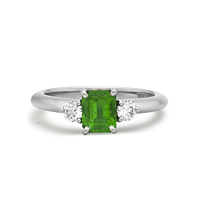 Emerald And Platinum Three Stone Ring