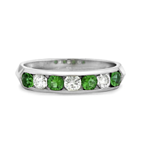 Emerald And Diamond Channel Set Ring