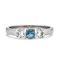 Aquamarine And Diamond Bar Set Ring