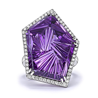 Geometric Amethyst Ring