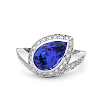 Pear Shape Tanzanite And Diamond Cluster Ring