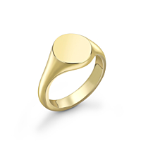 9Ct Gold Oval Head Lady'S Signet Ring