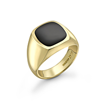 9Ct Gold Cushion Shaped Onyx Set Signet Ring