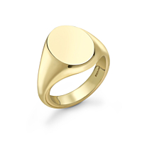 9Ct Gold Oval Head Gents Signet Ring