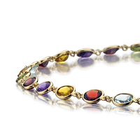 Mixed Stone Necklace In 18Ct Gold