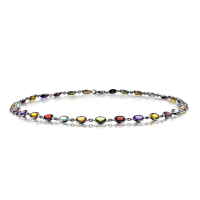 Mixed Stone Necklace In 18Ct White Gold