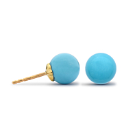 Turquoise Ball Stud Earrings, 4Mm