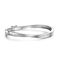 Silver Satin And Polished Crossover Hinged Bangle
