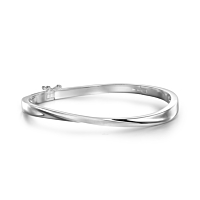 Silver Satin And Polished Twist Bangle