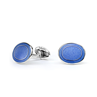 Silver Oval Light Blue Enamel Cufflinks
