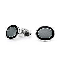 Silver Oval Black & Grey Enamel Cufflinks