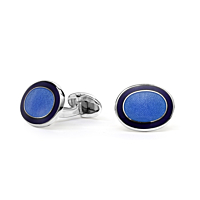 Silver Oval Blue Enamel Cufflinks