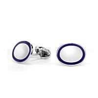 Silver Oval Navy Enamel Cufflinks
