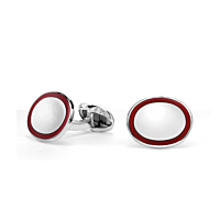 Silver Oval Red Enamel Cufflinks