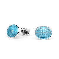 Silver Oval Turquoise Wheel Cufflinks