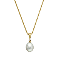 Drop Pearl Pendant In 18Ct Yellow Gold