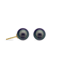 Black Pearl Stud Earrings, 5-5.5Mm Round