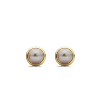 18Ct Gold And Pink Pearl Stud Earrings