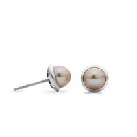 18Ct White Gold And Pearl Stud Earrings