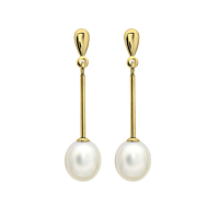 White Pearl Yellow Gold Drop Earrings