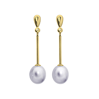 Grey Pearl Yellow Gold Drop Earrings