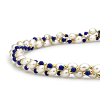 Lapis And Pearl Twist Necklace