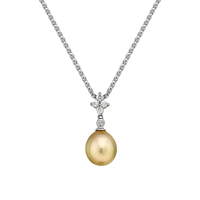 Diamond & Natural Gold Cultured Pearl Pendant