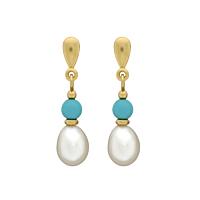 Turquoise & Pearl Drop Earrings