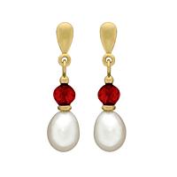 Garnet & Pearl Drop Earrings