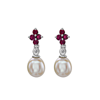 Ruby & Diamond Flower Shaped Drop Earring