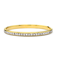 Princess Cut Diamond Gold Bangle