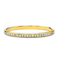 Princess Cut Diamond Gold Bangle
