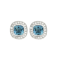 Cushion Shaped Aquamarine & Diamond Earrings