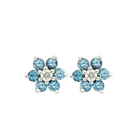 Aqmamarine & Diamond Cluster Earrings