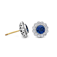 Sapphire And Diamond Cluster Earrings