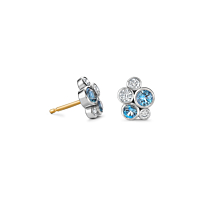 Aquamarine and Diamond Bubble stud earrings
