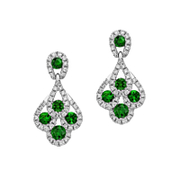 Emerald And Diamond Peacock Earrings