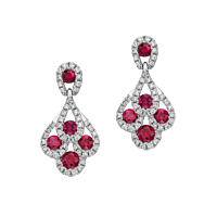 Ruby And Diamond Peacock Earrings