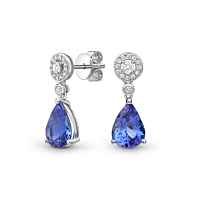 Pear Shape Tanzanite And Diamond Drop Earrings