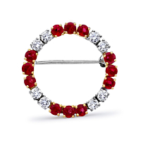 Circular Ruby Brooch