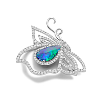 Opal and Diamond brooch