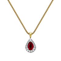 Pear Shaped Ruby & Diamond Pendant