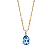 Pear Shape Blue Topaz & Diamond Pendant