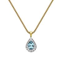 Pear Shaped Aquamarine & Diamond Pendant