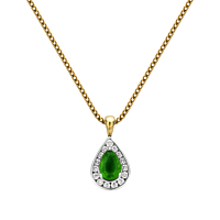 Pear Shaped Emerald & Diamond Pendant